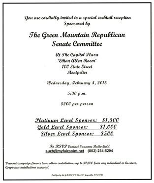 Invitation to Green Mountain Republican Senate Committee fundraiser - SCREENSHOT