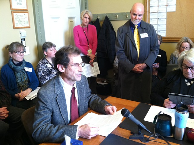Oliver Brody, whose partner used the end-of-life law to hasten her death, speaks in support of the law to the Senate Health and Welfare Committee. - TERRI HALLENBECK