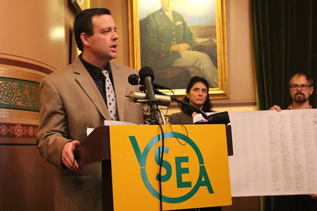 Vermont State Employees Association executive director Steve Howard at a Statehouse press conference Thursday - PAUL HEINTZ