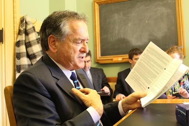 Sen. Michael Sirotkin addresses the Senate Committee on Government Operations Thursday. - PAUL HEINTZ