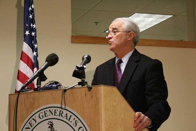 Attorney General Bill Sorrell at a press conference Wednesday in Montpelier - PAUL HEINTZ