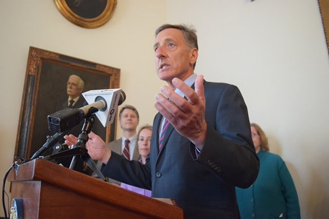 Gov. Peter Shumlin at a Statehouse press conference Tuesday. - TERRI HALLENBECK