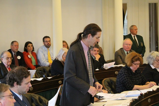 Sen. David Zuckerman argues against eliminating the philosophical exemption to Vermont's vaccine mandate. - PAUL HEINTZ