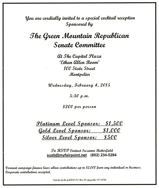 Invitation to Green Mountain Republican Senate Committee fundraiser - SCREENSHOT