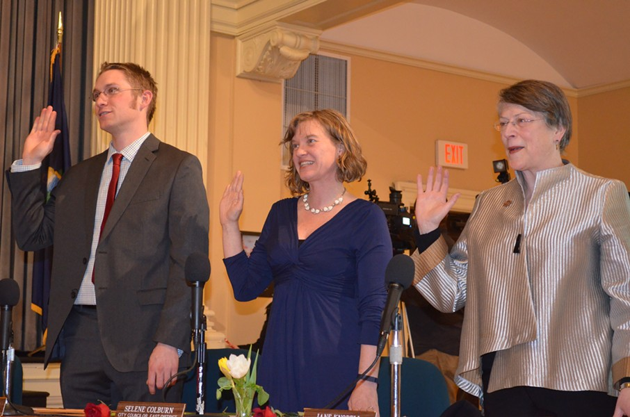 From left, Progressive councilors Max Tracy, Selene Colburn and Jane Knodell are sworn into office. - ALICIA FREESE
