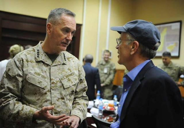 General Joseph Dunford Jr. meets with Congressman Peter Welch (D-Vt.) in Afghanistan in 2013.