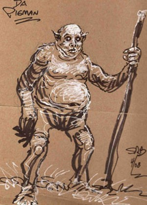 One of Steve Bissette's original Pigman images for The Vermont Monster Guide