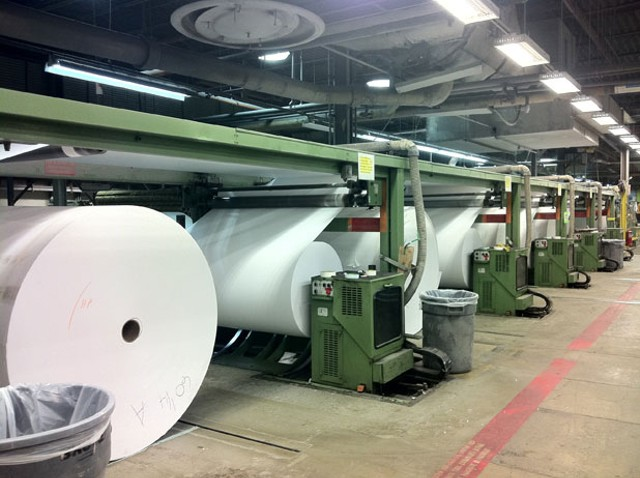 One of the two main papermaking machines at International Paper