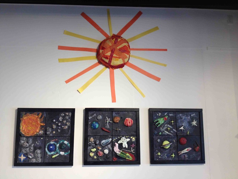 Outer Space Tile Mural, by IAA second graders, with BCA teaching Artist George Gonzalez - XIAN CHIANG-WAREN