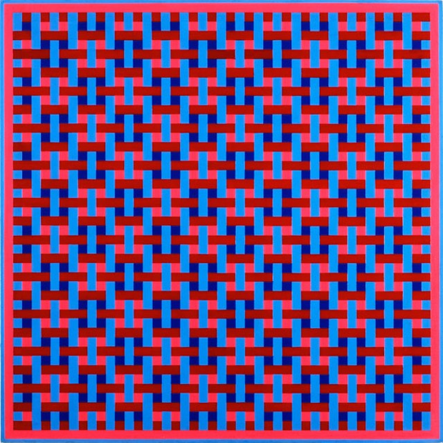 Overlap No.3 (Crimson and Blue), 1966 by Ernst Benkert