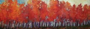"KATHARINE MONTSTREAM - panorama print, fall treeline. 10"" x 30"""