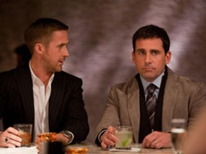 PASSING THE BAR Gosling teaches Carell to be less Michael Scott and more hot in Ficarra and Requa's comedy.