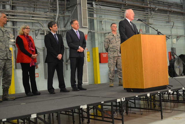 Patrick Leahy announcing the decision to base the F-35s at Burlington International Airport