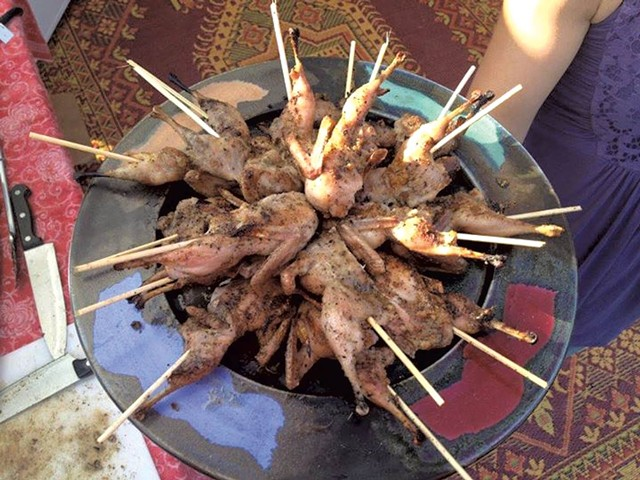 Quails on a stick - COURTESY OF FARM-TO-FOOD TRUCK
