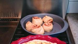 Quiche and cinnamon rolls