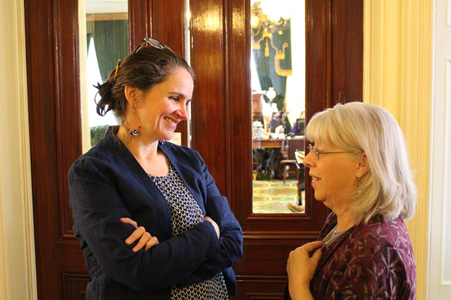 Rebecca Ramos and Sen. Peg Flory (R-Rutland) in May 2014. - PAUL HEINTZ