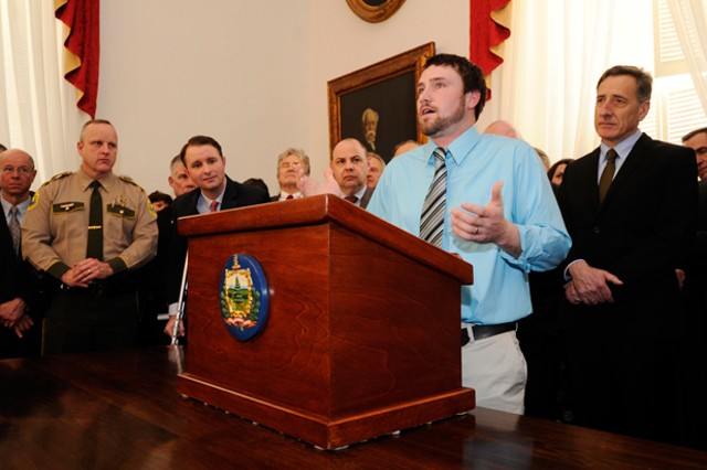 Recovering opiate addict Dustin Machia speaks at a Statehouse press conference last week - JEB WALLACE-BRODEUR