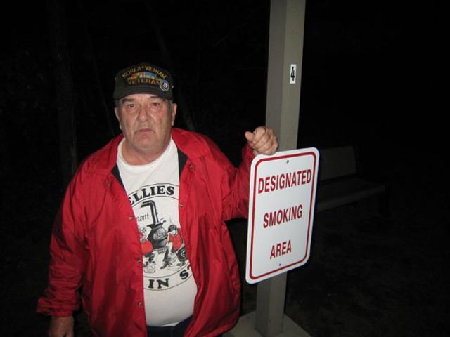 Reggie Peters in Holy Cross Senior Housing's new smoking area