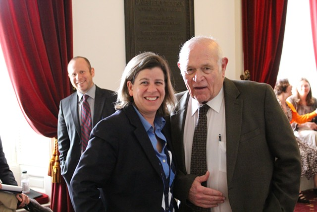 Rep. Heidi Scheuermann and Sen. Dick Sears at the Vermont Statehouse. - PAUL HEINTZ