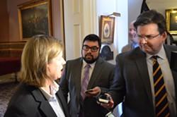 Rep. Heidi Scheuermann speaks with the Vermont Press Bureau's Neal Goswami and WPTZ's Stewart Ledbetter - PAUL HEINTZ