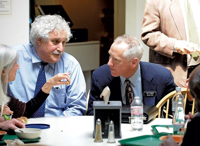 Rep. Janet Ancel, legislative chief fiscal officer Stephen Klein and Vermont-NEA lobbyist Jeff Fannon - STEFAN HARD