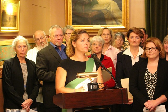 Rep. Sarah Copeland-Hanzas speaks to reporters in October at the Statehouse. - PAUL HEINTZ