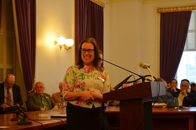 Rep. Tess Taylor announcing her resignation from the Vermont House on Friday. - PAUL HEINTZ