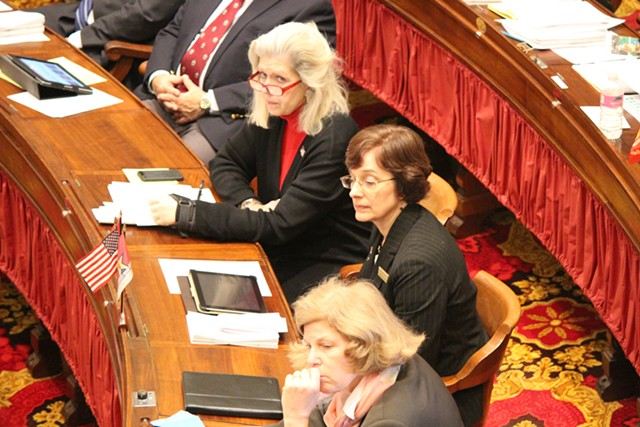 Rep. Vicki Strong listens as the House debates an abortion resolution. - PAUL HEINTZ