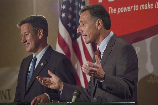 Republican Brian Dubie (left) and Democrat Peter Shumlin face off in 2010. - FILE PHOTO