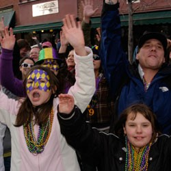 Revelers at the 2010 Mardi Gras parade - MATTHEW THORSEN
