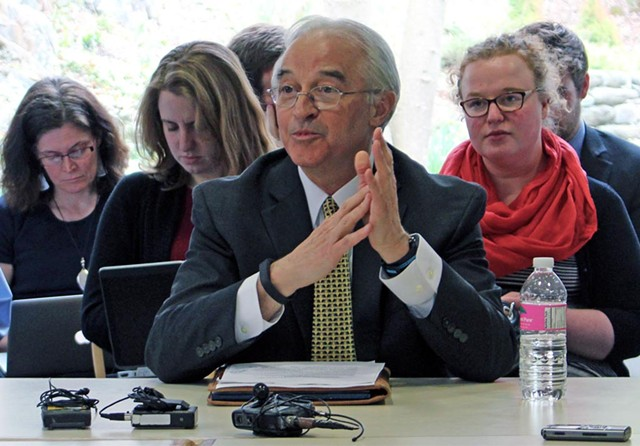 Attorney General Bill Sorrell testifies before the Senate Committee on Government Operations Tuesday. - PAUL HEINTZ