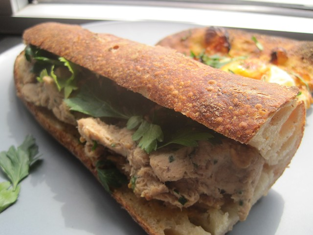 Rillette baguette and kimchi-and-egg flatbread