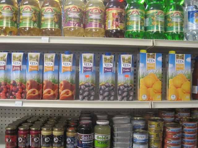 Russian sodas, juices and canned fish stock the shelves at Neighborhood Market