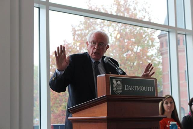 Sen. Bernie Sanders speaks at Dartmouth College last fall. - FILE: PAUL HEINTZ