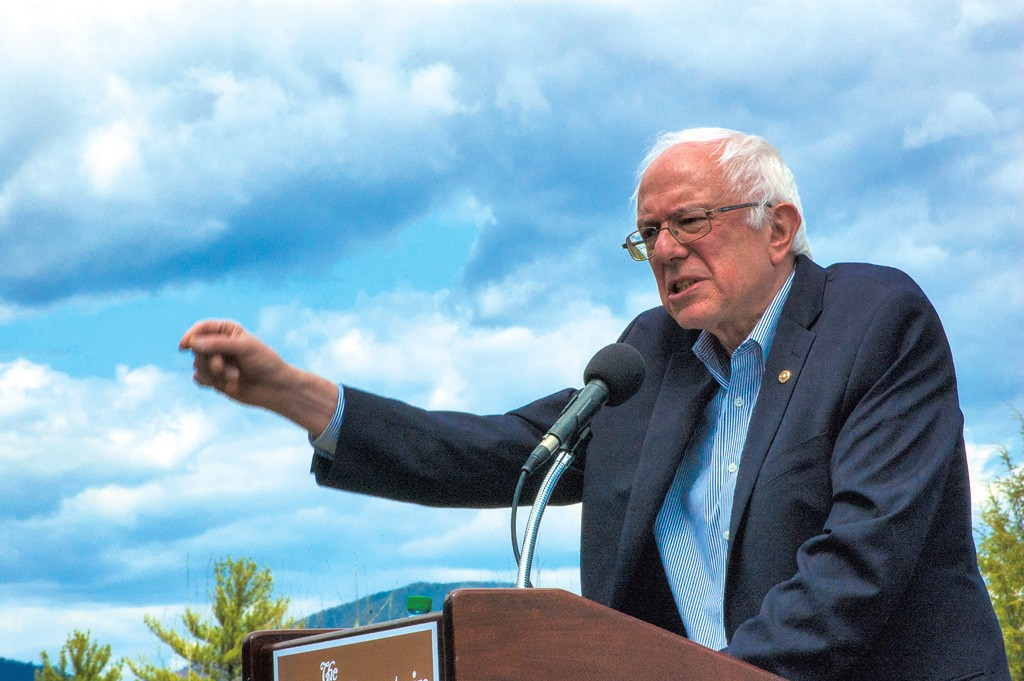 Sanders speaking at the White Mountain Hotel and Resort in New Hampshire - MORIAH HOUNSELL