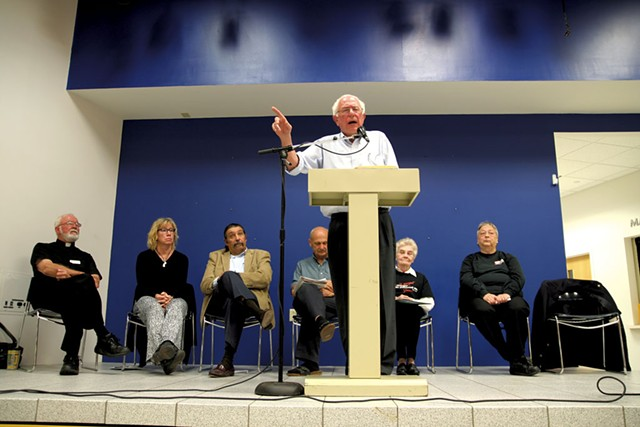 Sanders speaks at a town hall meeting at Clarke University in Dubuque, Iowa - ADAM BURKE
