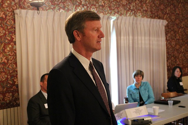 Scott Milne addresses the Vermont Republican Party's state committee in June. - PAUL HEINTZ