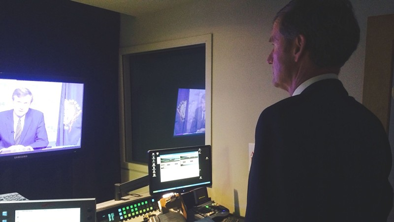 Scott Milne reviews a campaign ad he filmed inside Vermont PBS studios in October.