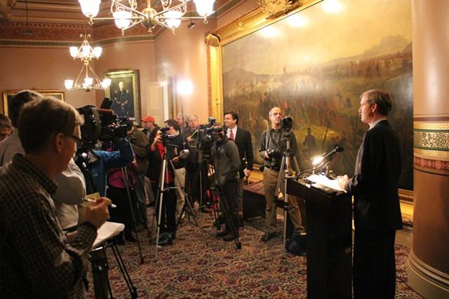 Scott Milne speaks to reporters Monday at the Statehouse. - PAUL HEINTZ