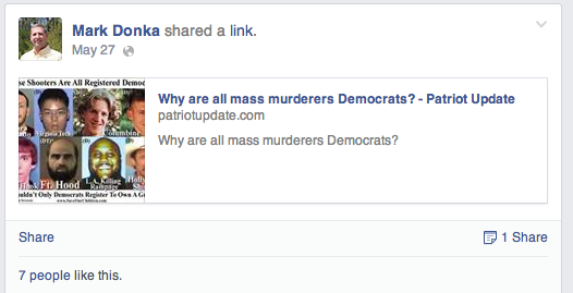 Screen shot from Mark Donka's Facebook page