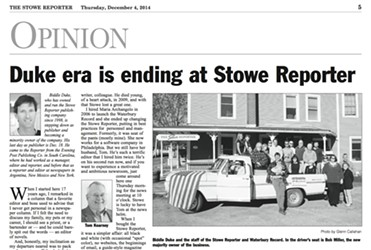 Screenshot of Thursday's Stowe Reporter - COURTESY: STOWE REPORTER