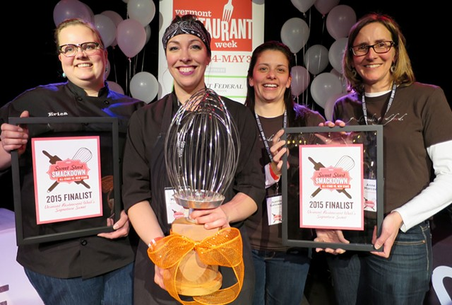 Second runner-up Erica Anderson (New Moon Café, Burlington), winner Nicole Maddox (Waterworks Food + Drink, Winooski), first runner-up Juanita Galloway & Anne Marcoe (Good Comida, Shelburne) - MATTHEW THORSEN