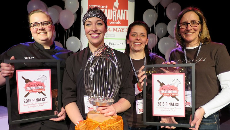 Second runner-up Erica Anderson (New Moon Café, Burlington), winner Nicole Maddox (Waterworks Food + Drink, Winooski), first runner-up Juanita Galloway & Anne Marcoe (Good Comida, Shelburne)