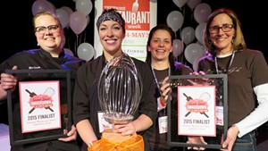 Second runner-up Erica Anderson (New Moon Café, Burlington), winner Nicole Maddox (Waterworks Food + Drink, Winooski), first runner-up Juanita Galloway & Anne Marcoe (Good Comida, Shelburne)
