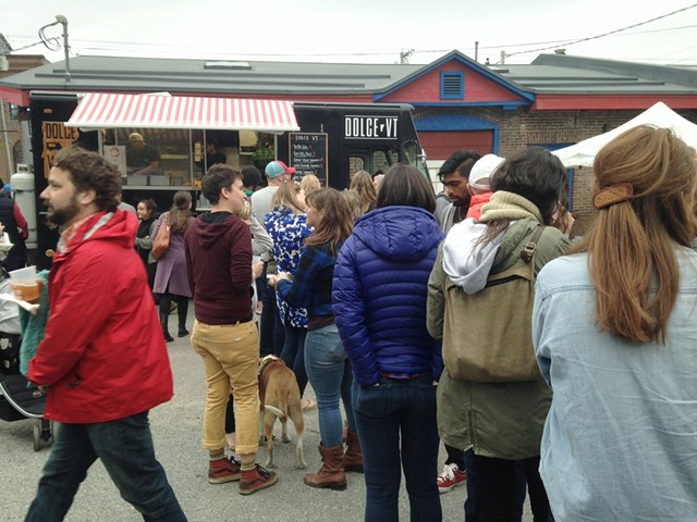 Line at the Dolce VT food truck - STACEY BRANDT
