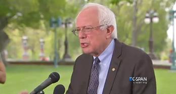 Sen. Bernie Sanders addresses reporters in Washington, D.C., Thursday at noon. - SCREENSHOT