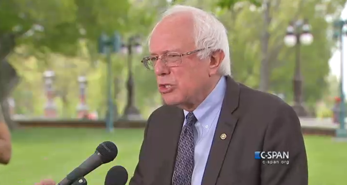 Sen. Bernie Sanders addresses reporters in Washington, D.C., Thursday at noon. - SCREENSHOT