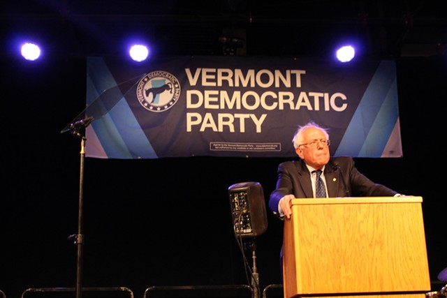 Sen. Bernie Sanders addresses the Vermont Democratic Party's Curtis Awards dinner in June 2014. - FILE: PAUL HEINTZ