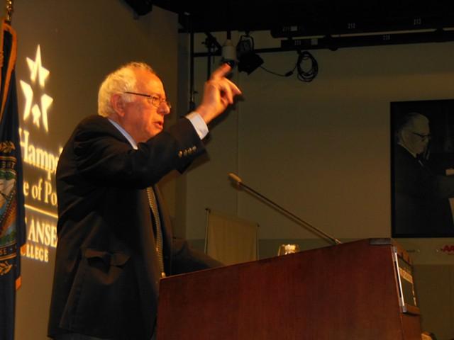 Sen. Bernie Sanders at St. Anselm College in Manchester, N.H. - KEVIN J. KELLEY