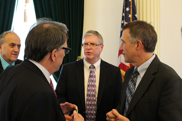 Sen. Dick Mazza, Sen. Peter Galbraith, Sen. John Campbell, Lt. Gov. Phil Scott - FILE: PAUL HEINTZ